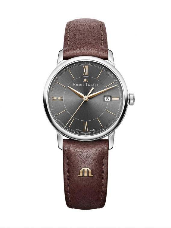 edd05d78b5a83 ELIROS Date 30mm, Women's Watch, Maurice Lacroix Black Dial & Brown ...