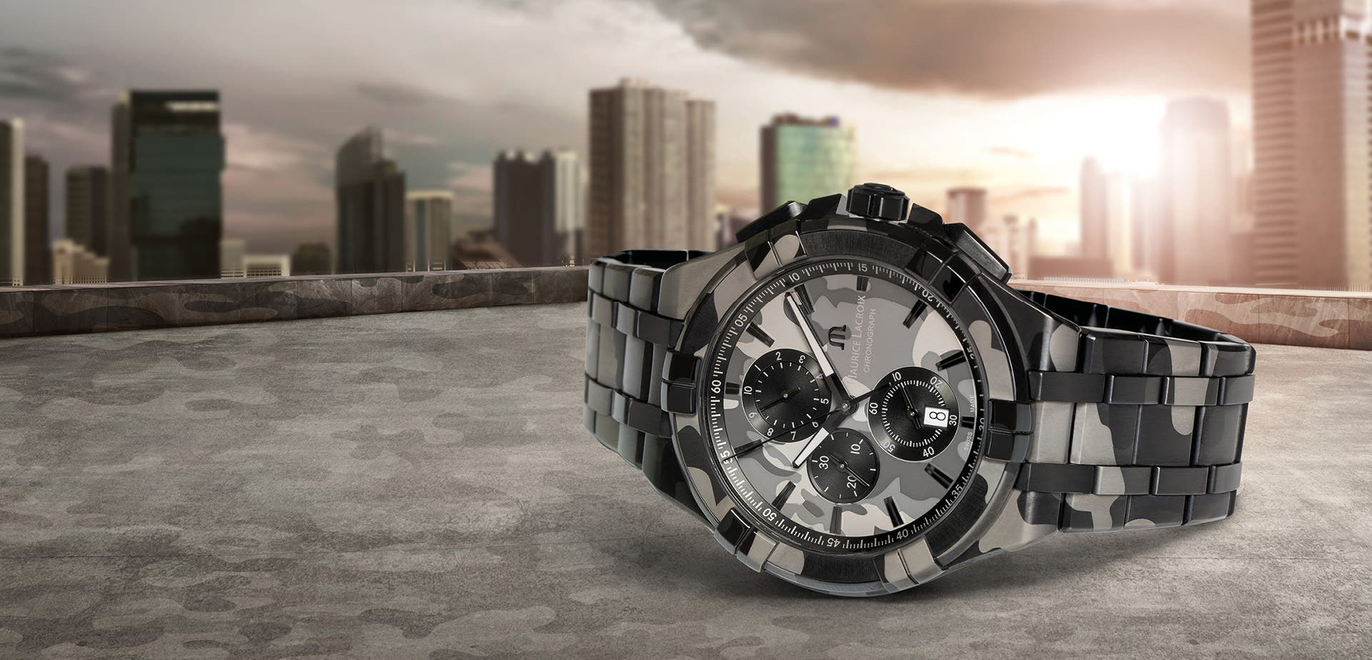 a67e00064f AIKON Quartz Chrono 44 mm Camouflage An everyday ally to face off in the  urban jungle!